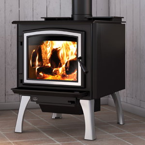 Osburn 3300 wood stove shown with brushed nickel door overlay and straight brushed nickel legs with ash drawer