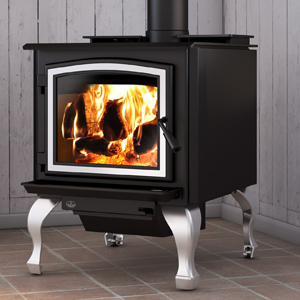 Osburn 3300 wood stove shown with brushed nickel door overlay and traditional brushed nickel legs with ash drawer
