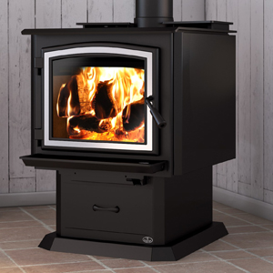 Osburn 3300 wood stove shown with brushed nickel door overlay and pedestal base with ash drawer
