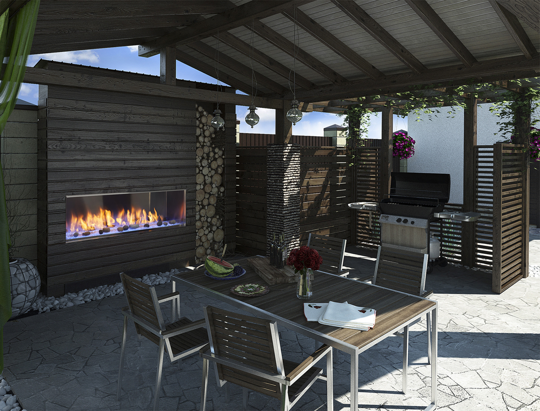 Outdoor Lifestyles Lanai 48 linear gas fireplace by Majestic shown in a dark covered patio with blue LED lights and optional stone kit
