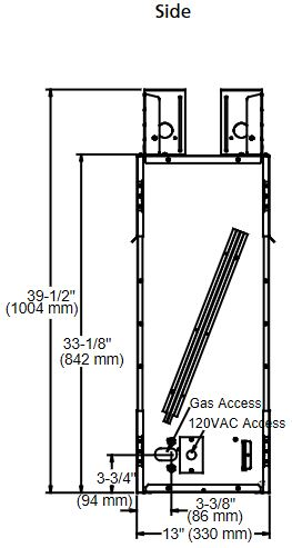 """Lanai 48"""" see-through gas outdoor fireplace drawing showing side view with dimensions"""